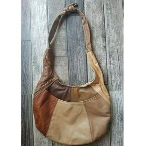 Vintage leather patchwork hobo